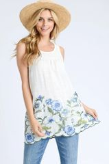 Ivory/Blue Embroidery Sleeveless Top (T188)