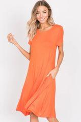 Tangerine Knit Midi Dress W/Pockets