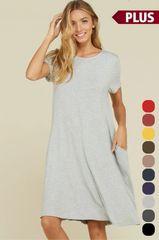 Plus Size Grey Knit Midi Dress W/Pockets