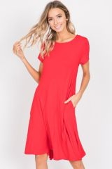 Poppy Red Babydoll Dress w/Pockets