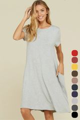 Heather Grey Babydoll Dress w/Pockets
