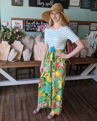 Mint Contrast Floral/Fruit Jumpsuit w/Striped Top