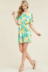 Pineapple Dolman Cold Shoulder Romper