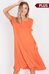 Tangerine Plus Size Knit Dress w/Pockets