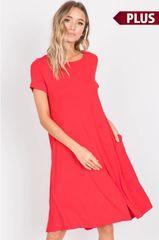 Poppy Red Plus Size Babydoll Dress w/Pockets