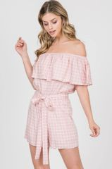 Pink Checkered Off Shoulder Front Tie Romper