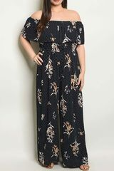 Plus Size Floral Print w/Small Polka Dot Off Shoulder Jumpsuit