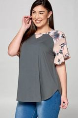 Charcoal Grey Raglan Top w/Ruffle Sleeve