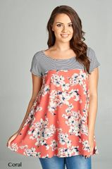 Coral Floral Tunic Top