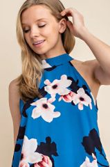 Azure Floral Mock Neck Halter Top