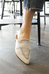 Oatmeal Perforated Flat Mules