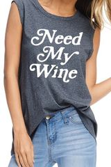Charcoal Grey Need My Wine Sleeveless Top