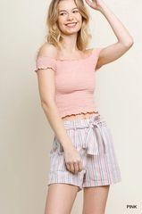 Pink Striped Cuffed Shorts w/Waist Tie