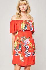 Tomato Red Floral Off Shoulder Dress