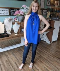 Royal Blue Halter High Neck Sleeveless Top