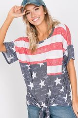 Stars and Stripes Short Sleeve Front Tie Top