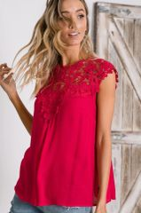 Fuchsia Floral Crochet Lace Sleeveless Top