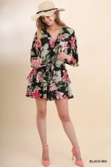 Black Tropical Print Angel Sleeves w/Ruffle Waist Romper
