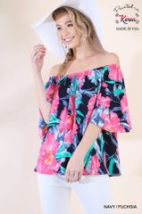 Navy/Fuchsia Floral Off Shoulder Ruffle Sleeve Top