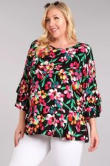 Black Floral 3/4 Bell Sleeves Relaxed Fit Top