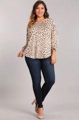 Ivory/Mocha Leopard Print 3/4 Sleeve Top