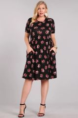 Black/Pink Floral Fit and Flare Short Sleeve Dress w/Pockets