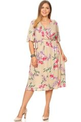 Taupe Floral Faux Wrap Dress