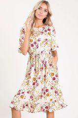 Cream Floral Print Midi Dress W/Pockets