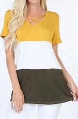 Light Mustard Colorblock Top