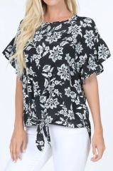 Black Floral Front Tie Ruffle Sleeve Top