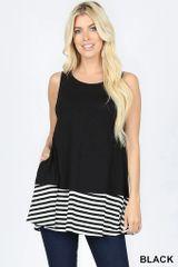 Black Striped Hem Top w/Pockets