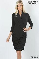 Black 3/4 Sleeve Shirred Sweater Dress