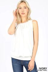 Ivory Sleeveless Pleated Top