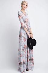 Grey Floral 3/4 Sleeve Maxi Dress w/Pockets