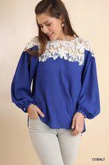 Cobalt Blue Puff Button Sleeve Top w/Crochet Detail