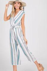 Teal Striped Jumpsuit