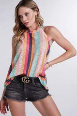 Blush Striped Hacci Knit Halter Neck Top