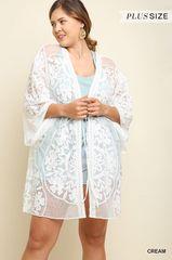 Black/Cream Floral Lace Kimono