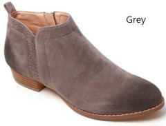 Grey Low Heel Bootie