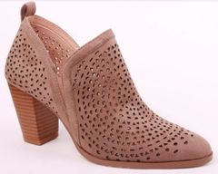 Taupe Perforated Chunky Heel Bootie