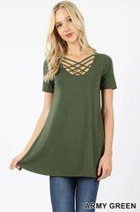 Army Green Lattice Top
