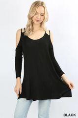 Black Double Shoulder Strap Cold Shoulder Tunic Top