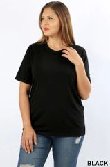 Black Short Sleeve Round Neck Top