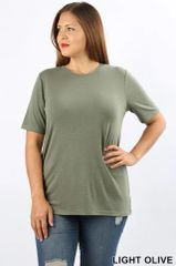 Light Olive Short Sleeve Round Neck Top