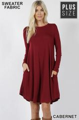 Cabernet Plus Size Sweater Dress with Pockets