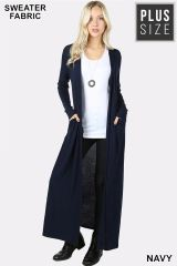 Navy Plus Size Long Body Cardigan with Pockets