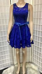 Royal Blue Lace Sleeveless Fit and Flare Dress