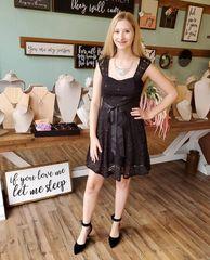 Black Lace A line Square Neck Cocktail Dress