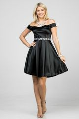Black Satin Off The Shoulder Fit and Flare Cocktail Dress