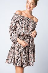 Clay Snakeskin Print Off The Shoulder Elastic Waist Babydoll Dress